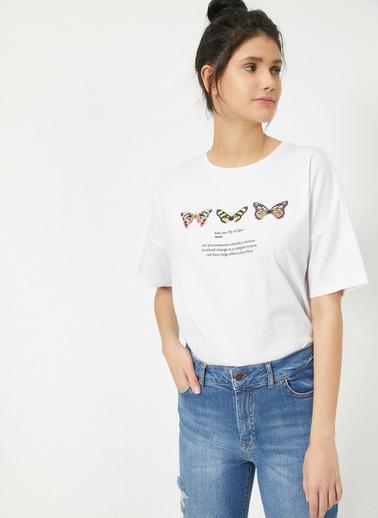 Koton Yazılı Baskılı T-Shirt Ekru